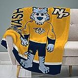 """Sleep Squad Nashville Predators Gnash 60"""" x 80"""" Rachel Plush Blanket –A NHL Mascot Super-Soft Throw"""