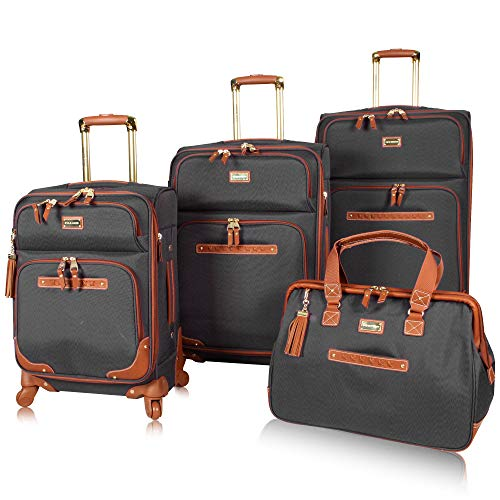 Steve Madden Luggage Set 4 Piece- Softside Expandable Lightweight Suitcase Set With 360 Spinner Wheels - Travel Set includes a Tote Bag, 20-Inch Carry on, 24 & 28 Inch Checked Suitcases (Black)
