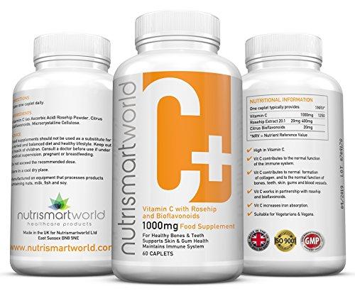 Vitamina C 1000mg - Con Bioflavonoides. Y Rosa Mosqueta Sistema Inmune, Piel, Encías, Colágeno, Huesos, Dientes y Vasos Sanguíneos. 60 cápsulas, 2 meses de suministro. Vegetariano y Vegano. Por Nutrismartworld.