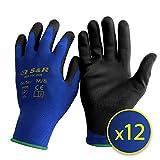 S&R Gants de Travail en Nylon et Polyuréthane Taille XL 10 - Lot de 12 paires
