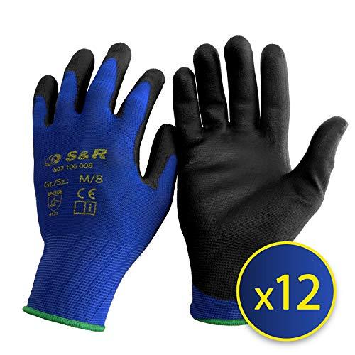 S&R Schutzhandschuhe 12 Paar aus Nylonfaser mit Polyurethanbeschichtung, geeignet für den privaten und gewerblichen Gebrauch (XL/10)