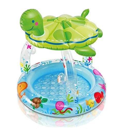 3DWallflexi PVC Inflatale bebé Seta sombrilla Piscina niños Tortuga Cuadrada sólida Piscina de Verano Playa Juguete portátil Agua Jugar-Tortuga
