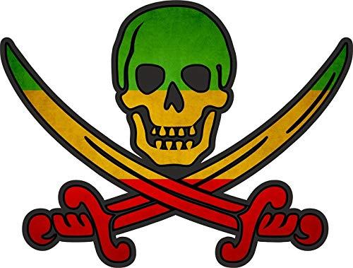 Akachafactory sticker piraat piraten Jack Rackham Calico vlag vlag Rasta Reggae