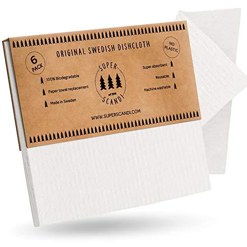 SUPERSCANDI Schwammtuch aus Zellulose, umweltfreundlich, wiederverwendbar, biologisch abbaubar, für die Küche - umweltfreundliches Geschirrtuch Reinigungstücher 6 Pack White