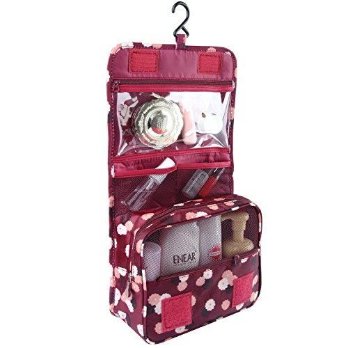 Discoball Trousse de toilette et maquillage portable et pliable pour voyages Trousse de toilette à crochet Wine Red Flower