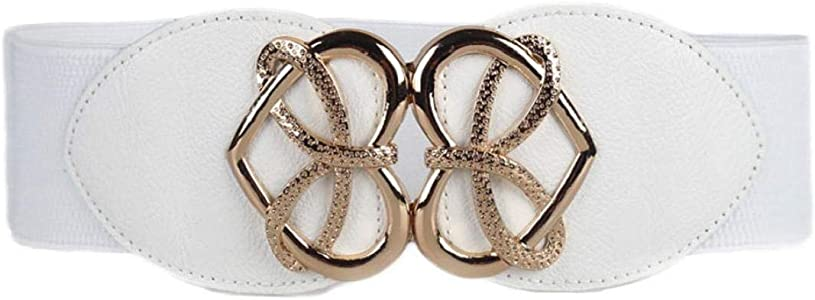 WomenPU Leather Wide Waist Belts Stretch Belts For Jeans Buckle Elasti...