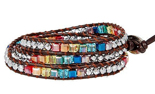 New! Chakra Awareness Leather Wrap and Crystal Bracelet for Women | SPUNKYsoul Collection (Brown)