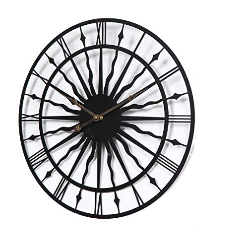CHEBEND Chebendmodern Silent No Tick In The Living Roomproduct Creative Wrought Iron Wall Clock Living Room Metal Wall Clock Hollow Round Clock
