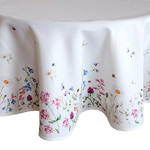 heimtexland ® Tisch Dekoration Serie Blumen Weiß Bunt Tischdecke 170 cm rund Blumenwiese Mehrfarbig Typ520