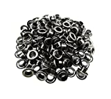 Amanaote 6mm Internal Hole Diameter Gun Black Eyelets Grommets with Washer Self Backing Pa...