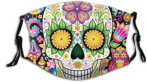 Colorido Floral Cráneo de Azúcar Cara Verde M-A-S-K Con 2 Filtros,Reutilizable Lavable Unisex al aire libre Bandana Bufanda