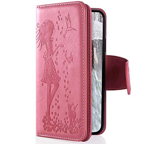 Uposao Kompatibel mit Samsung Galaxy M30 Handyhülle Multifunktional 9 Kartenfach Blumen Geldbörse Flip Schutzhülle Vintage Dünne Handytasche Brieftasche Etui Magnetische Lederhülle,Rosa