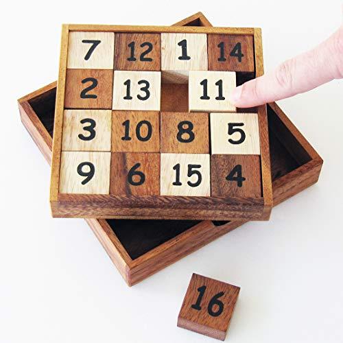 GLISSER 15 casse tête à partir de 7 ans difficulté 3/6 En bois massif aux normes CE marque française Le Délirant, solution avec illustrations fournie. Un jeu de voyage mix entre le Taquin et le Sudoku
