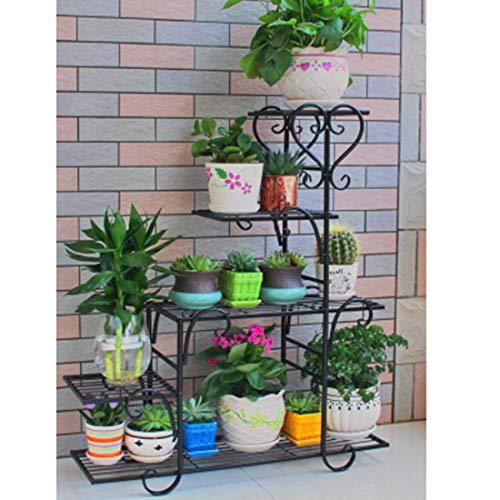 Dittzz Blumentreppe Metall, Blumenständer Multilayer Pflanzentreppe für Innen-Balkon Wohzimmer Outdoor Garten Deko, 68 x 23 x 85cm (Schwarz)