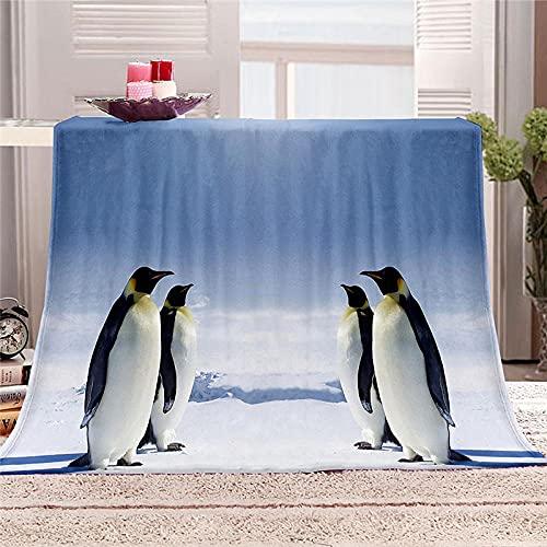 Mantas para Cama de Franela 150x200cm Manta Polar 100% Microfibra Extra Suave Manta de bebé Cálido Saludables y Duraderas también Puede para Mascotas - Pingüino
