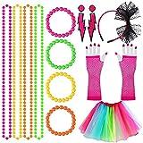 Disfraz retro de los años 80 para mujer, disfraz de neón para adultos, tutú, falda, red de pesca, guantes de perlas, collar, pulsera, vestido y pendientes, multicolor
