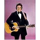 johnny cash guitar pic - Johnny Cash 8 inch x10 inch Photo Singer Ring of Fire Holding Guitar Smiling Pink Background Black Tuxedo kn