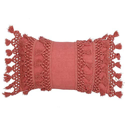 RAJRANG BRINGING RAJASTHAN TO YOU Fundas de cojín - Funda de Almohada Fundas de Almohada Decorativas pequeñas de Coral para Fundas de Almohada Acolchadas de sofá Cama con borlas de 50 x 30 cm