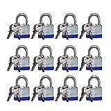Candado (Pack de 12) - 40mm Alta Seguridad Candado (6cm x 4cm x 1,5cm) - 2 x Llaves para cada cerradura - Perfecto para Exterior, Hogar, Garaje, Gimnasio, Armario, Obturador, Valla y Bicicleta