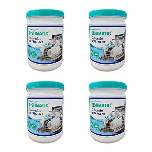 Dishmatic Dishwasher Detergent Powder, Automatic Powerful Cleaner Dishwashing Powder for Spot-Free, Sparkling Clean Dishes (Pack of 4) (Each Pack 1 kg)