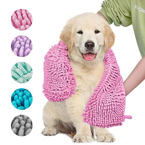 Dociote Hundehandtuch Weich Hunde Bademantel Handtuch Microfiber Schnelltrocknend Haustierhandtuch für Hunde Katzen 35x80cm Pink