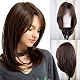 FORCUTEU Brown Wig with Bangs Wigs for Women Brown Wig Natural Shoulder Length Wig Headline Synthetic Straight Wigs Cosplay Party Replacement Wigs for Women