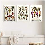 Cute Sexy Zanahorias Helado Setas Impresiones en lienzo y póster Cuadro botánico Tatuaje Flash Pintura Cuadro de pared Decoración del hogar -20x28 pulgadas x3 Sin marco