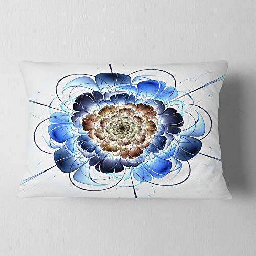 Designart Dark Blue Fractal Flower Floral Throw Lumbar Cushion Pillow Cover For Living Room Sofa 12 X 20 Shefinds
