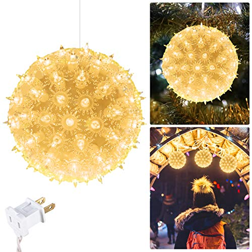 "6"" Christmas Starlight Sphere Outdoor Clear Lighted Ball Hanging Lights 100 Replaceable Bulbs for Xmas Indoor Party Wedding Home Commercial Decorations, Stackable Plug (Clear)"