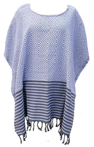 KELIM LUX Tunika Pareo Strandkleid Poncho Hamamtuch Baumwolle (Weiß)