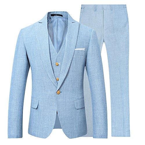 YOUTHUP 1 Knopf Herren Anzug 3 Teilig Leinen Hochzeitsanzug Regular Fit Business Hochzeit