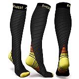 Rwest X Calcetines deportivos unisex Adult CSDE-007 para hombre y mujer, talla mediana, vuelo, viajes, embarazo y medicina, color negro y amarillo, M/L (UE 40-43)