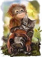大人の子供のための木製のジグソーパズル2000個チンパンジー-2000大人の子供のためのフロアパズル ユニークなカットインターロッキングピース