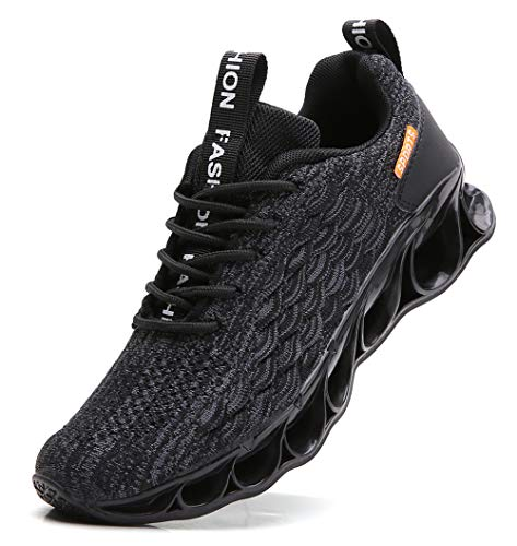 TSIODFO Running Sneakers for Men mesh Breathable Comfort Sport Athletic Walking Shoes All Black Fashion Runner Jogging Casual Tennis Trainers Size 8.5