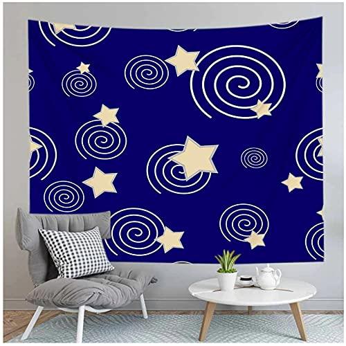 Tapiz by BD-Boombdl Fondo azul 3D Estrellas Luna Decoración Arte de la pared Decoración montada en la pared Decoración del hogar 59.05'x51.18'Inch(150x130 Cm)
