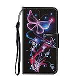 Nadoli Brieftasche Etui für Xiaomi Mi 11 Lite,Lila Blumen Schmetterling Muster Bunt Standfunktion Magnetisch Handyhülle Schutzhülle Lederhülle mit Kartenfach