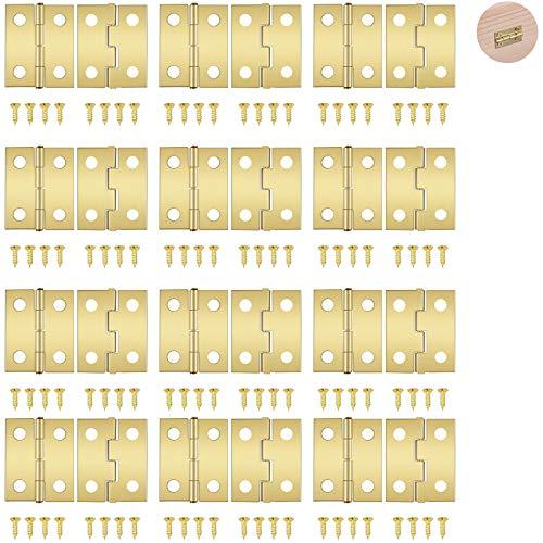 gotyou 100 Piezas Mini gabinete cajón Butt Bisagras Conectores, Mini bisagras de cobre Bisagras de latón retro, Bisagras de Armario con 400 piezas Reemplazo de tornillos de bisagra de latón