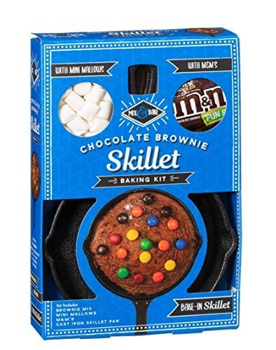 Brownies Mix & Mallows Geschenk-Set inkl. M&M und Brownie Gusseisen-Bratpfanne/Brownie-Backset