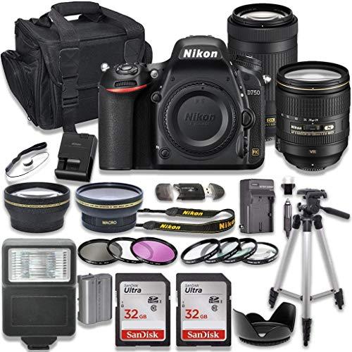 Nikon D750 DSLR Camera with AF-S 24-120mm VR Lens + Nikon AF-P 70-300mm f/4.5-6.3G ED Lens + 2pc SanDisk 32GB Memory Cards + Accessory Kit