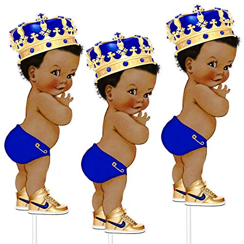 8 inches Royal Blue Little Prince Table Decoration Centerpieces, Set of 3 African American Prince Birthday Centerpieces