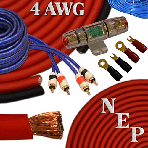4 Gauge Amp Kit, 20% Oversized 4 AWG Power & Ground Cable, 100 Amp Mini-ANL Fuse, 10 AWG Speaker Wire & More