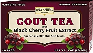 Only Natural Gout Tea - Black Cherry Fruit Extract - 20 Bags -Assist in maintaining healthy uric acid levels and over all well being, 1 OZ