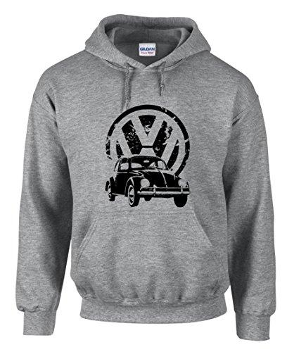 shirt19 VW Volkswagen Käfer Auto Grau Kapuzenpullover Hoodie -3379 (M)