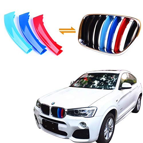 Jackey Awesome Exact Fit ///M-Colored Grille Insert Trims for BMW 2011-2017 F25 X3 F26 X4 Center Kidney Grill (for BMW 2011-2017 X3 & X4, 7 Beams)