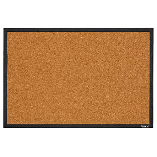 Quartet Cork Board Bulletin Board, 2' x 3' Framed Corkboard, Black Frame, Decorative Hanging Pin Board, Perfect for Home Office Decor, Home School Message Board or Vision Board (MWDB2436-BK)