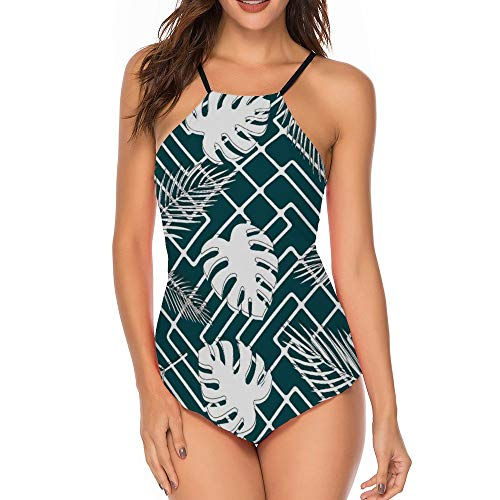 Women One Piece Sexy Swimsuits Bathing Suit Palm Leaf Palm 38 L