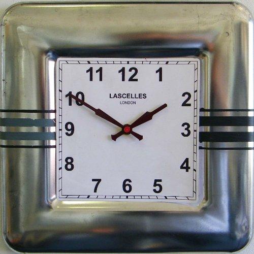 Roger Lascelles vierkante wandklok strepen blik
