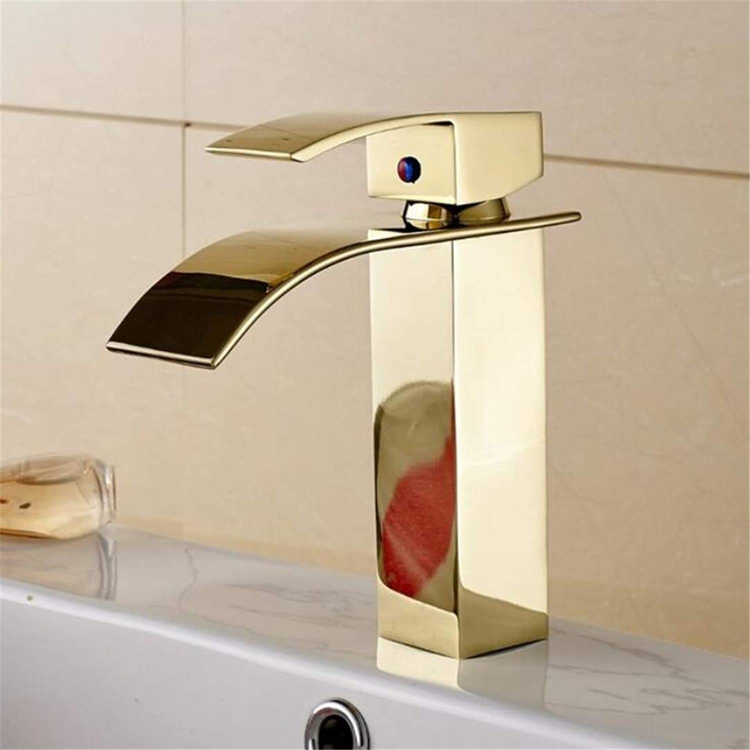Faucets Basin Mixer golden Waterfall Faucet with Solid Brass Bathroom Waterfall Basin Faucet of Hot Cold Water Mixer Tap