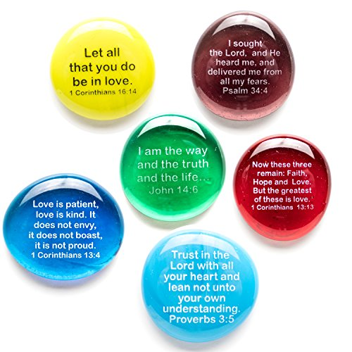 Lifeforce Glass Scripture Glass Stones, Six of Your Favorite Inspiring Bible Verses on Translucent and Opaque Rocks, Packaged in a Deluxe Gift Box Set IV