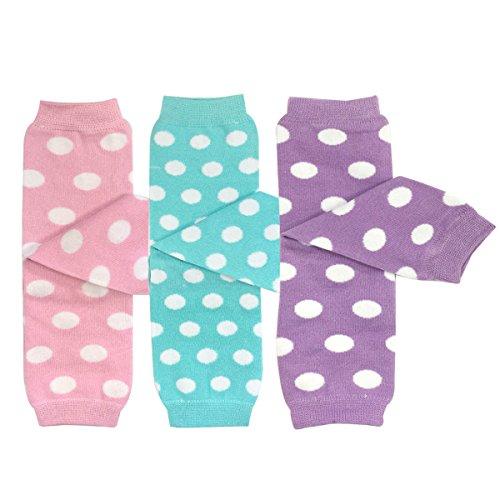 Bowbear Baby 3-Pair Leg Warmers, Pastel Dots in Pink, Aqua, Lavender